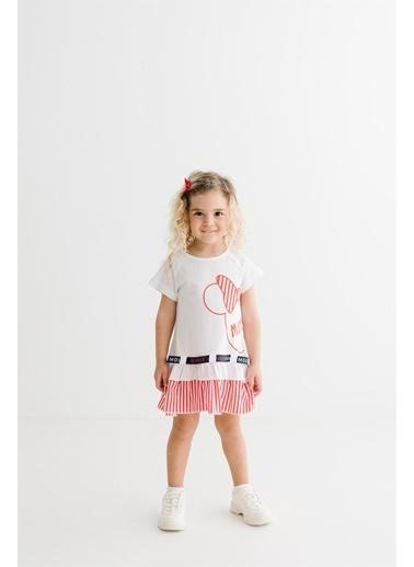 Minnie Mouse Lisanslı Çocuk Elbise 17373 Beyaz